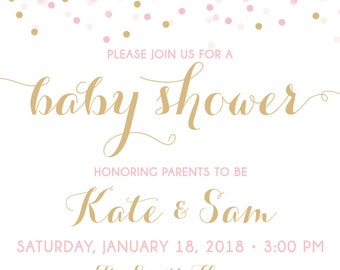 ON SALE! Couples Baby Shower Invitation, Confetti Baby Shower Invitation, shower invite, baby shower, pink and gold