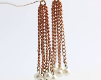 """Vintage Chain and Pearl Tassel - Copper and Brass - 2.5"""" - 2 Tassles"""