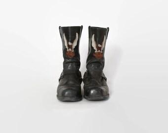 Vintage 80s HARLEY DAVIDSON BOOTS / 1980s Black Leather Harness Engineer Biker Moto Boots 11 1/2