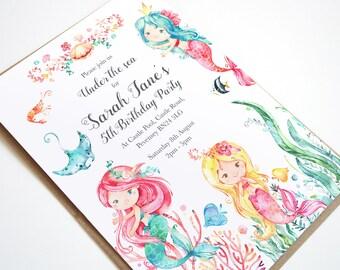 Mermaid Invitation, Mermaid Birthday Invitation, Under The Sea Birthday Invitation, Under The Sea Party, Boho Mermaid