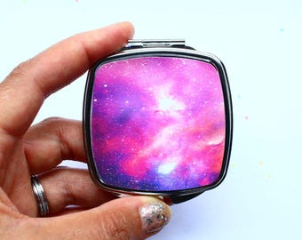 Galaxy Print Handbag Mirror Nebula Night Sky