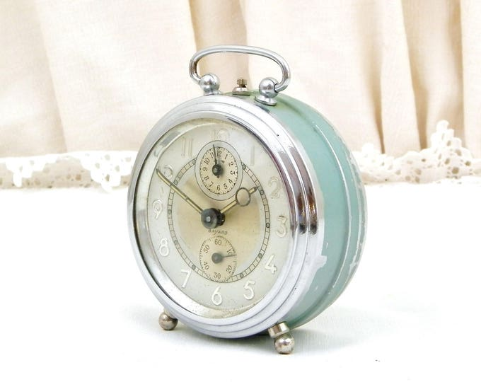 Vintage Working French Art Deco Mechanical Wind Up Bayard Alarm Clock Chrome and Mint Green Metal, Bedside Timepiece from France C 1940s