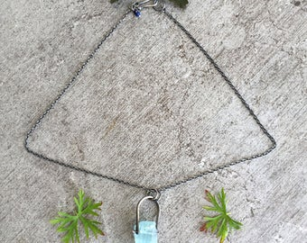 Silver and Raw Aquamarine Crystal Nugget Necklace