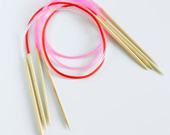 Bamboo Circular Knitting Needle Kits - 31in/80cm length (Lace, Fine, Light, Medium, Bulky, and Super Bulky weights)