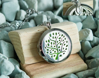 Stainless Steel Oil Diffuser Necklace - Tree of Life - Add a Hand Stamped Initial Charm