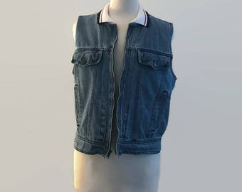 Vintage 70s 80s 90s Unisex Zip Up Sleeveless Denim Vest With Striped Collar, Freaks and Geeks, Size Medium