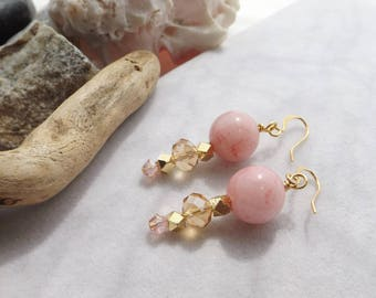 Pink, Gold Beaded Drop, Dangle Earrings, Mountain Jade, Crystals, Glass, Handmade for Weddings, Bridal Jewelry, Gift for Mom, Gift for Her