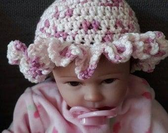 Baby girls soft cotton crochet sun hat,newborn baby girls pink hat,reborn baby frilly sun hat