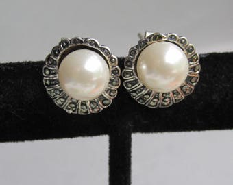 Vintage Faux Pearl & Marcasite Sterling Silver Stud Pierced Earrings