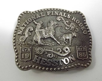 National Finals Rodeo Child's Buckle 1985 Hesston Commemorative Belt Buckle Third Edition Anniversary Series