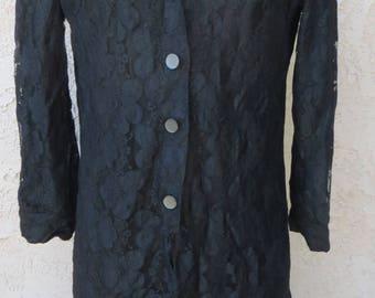 Vintage 1960's black lined lace l/s shirt dress sz S/M mid century mod glam