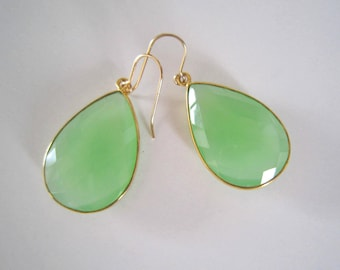 Large Light Green Chalcedony Teardrop Earrings, 24k Gold Vermeil Bezel Set, 14k Gold Filled, Statement Earrings, Inspired by Stella and Dot