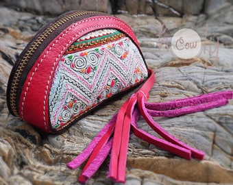 Pink Leather Tribal Wallet, Hippie Wallet, Gypsy Wallet, Pink Boho Wallet, Womens Wallet, Pink Leather Purse, Leather Coin Purse, Coin Purse
