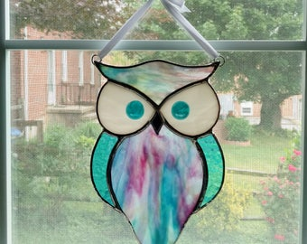Stained Glass Owl Suncatcher - Blue and Pink Swirl - Stained Glass Bird - Horned Owl - Garden Art - Owl Ornament - Housewarming Gift