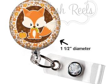 Fox Badge Holder - Cute Fox Badge Reel - Fall Badge Reel - Autumn Thanksgiving Badge Reel, Stethoscope ID Tag, Carabiner or Lanyard - 1664