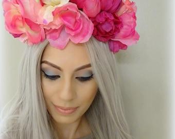 Pink Flower Crown, Floral Headpiece, Flower Crown, Flower Headband, Pink Floral Headband