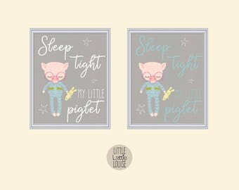 Primrose Pig – sleep tight my little piglet, printable nursery wall art.  Perfect for a hipster, woodland nursery.