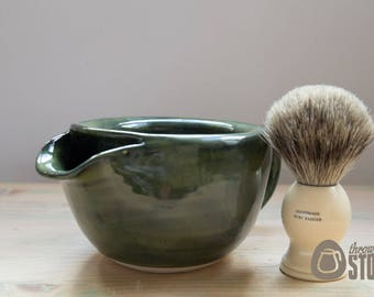 Shaving Scuttle - Spinach Green Stoneware Lather Bowl - Shaving Bowl