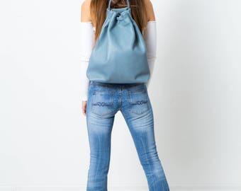 Leather backpack shoulder bag floating blue