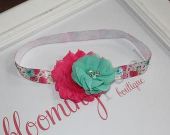 Spring Flower Shabby Chic Newborn/Infant Flower Headband