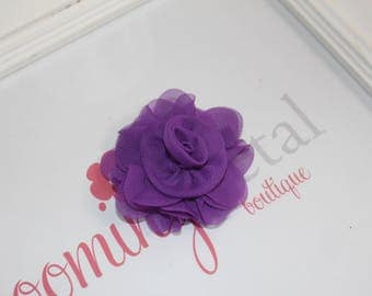 Purple Chiffon Rose Flower Clip