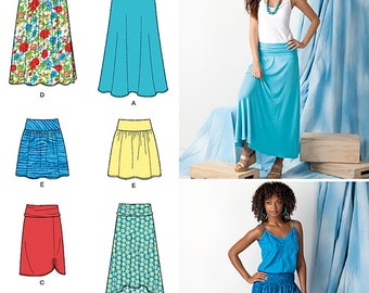 EASY-to-SEW Knit or Woven Skirts, Length Variations, Hi-Low Hem Pattern by Simplicity 1616