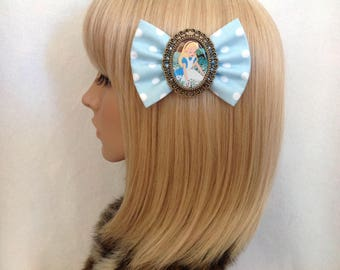 Alice in wonderland hair bow clip rockabilly psychobilly disney princess kawaii pin up geek fabric ladies girl kitsch polka dot blue white