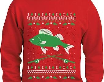 Fishing Ugly Christmas Sweater Gift for Fishermen Xmas Sweatshirt