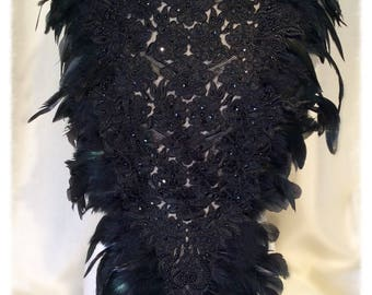 Black Lace, Feather and Silk Top, Neckpiece, Collar Victorian Steampunk