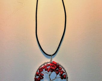 Coral Tree of Life Necklace