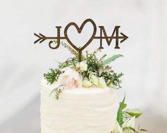 Wedding cake toppers etsy rustic wedding arrow cake topper decoration beach wedding bridal shower initials cake junglespirit Gallery