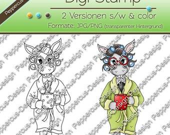 Digi stamp set donkey Ellie in the bathrobe / E0166