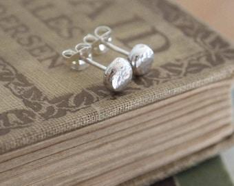 Silver Studs, hammered silver stud earrings, single or pair, 3mm, 5mm or 7mm diameter, unisex silver earrings, in stock, handmade UK