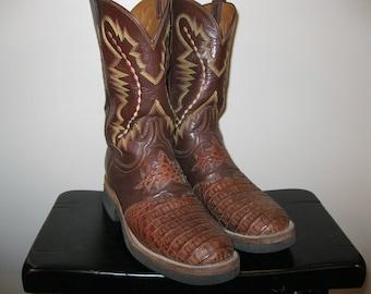 Lucchese 2000 Caiman Hornback Alligator Crocodile Cowboy Boots Sz 10 D