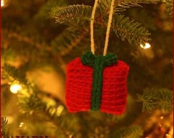 DIGITAL DOWNLOAD: PDF File Written Crochet Pattern for the Gift Box Ornament