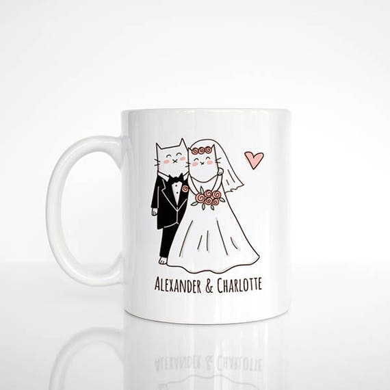 Cat Mug Couple Mug Personalized Mug Engagement Mug Wedding Mug, Personalized Wedding Gift Engagement Gift Anniversary Gift Unique Coffee Mug