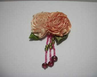 Pink, Orange, Flower, Fabric Brooch ,Handmade Dress Pin, Fabric Flower Brooch