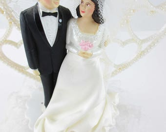 1980s Wedding Cake Topper - Bride and Groom - Faux Pearl Heart Backdrop - Actual Silk, Satin, Lace, Net - '80s Glamour -  Mfd in New Zealand
