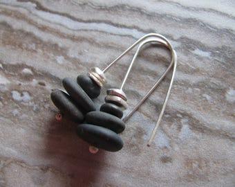 Lake Superior Pebbles Granite Stone, Karen Hill Tribe Silver & Sterling Silver Earrings-Toniraecreations