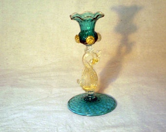 Antique Venetian Murano Glass Swan Candleholder Gold and Turquoise