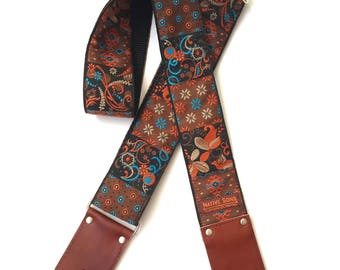 The Mojave Guitar Strap - Unique Floral, Paisley, Native Motifs in Rust, Blue, Browns, Black- Custom Leather in  Black, Espresso, & Cognac