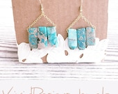 Turquoise Stick Statement Earrings- Blue Sea Sediment Jasper Earrings Dangle- Beach Jewelry- Tribal Earrings- Earrings Studs- Point Earrings
