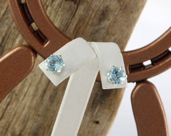 Sterling Silver Post Earrings - Natural Aquamarine Stud Earrings - 8mm Natural Aquamarine Stones on Sterling Silver Posts
