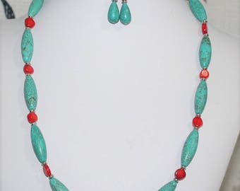 Turquoise Necklace, Turquoise Magnesite Beaded Necklace, Turquoise and Red Necklace, Southwestern Style Necklace, Women's Jewelry