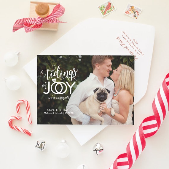 Winter Save the Date Holiday Card, We're Engaged Christmas Card, Engagement Announcement Holiday Photo Cards- Tidings of Joy