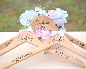 Personalized Bridesmaid Hangers - Engraved Wooden Bridal - Personalized Wedding Hangers - Wedding Dress Hanger - Bridesmaid Gift - Hangers