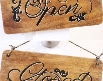 Open Closed Sign, 6x12 - Business Sign, Open Sign, Store Sign, Boutique Sign, Open and Closed, Business Decor, Custom Sign, Swirl Design
