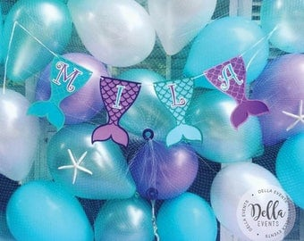Mermaid Birthday Banner, Mermaid Banner, Mermaid Birthday Party, Decoration, The little mermaid, Ariel, Princess Ariel, Birthday Banner