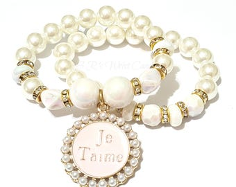 Je T'aime Bracelet,I Love You,Stretchy, Valentines Day, Bridal Jewelry,Set White, Pearl, Custom Handmade Beaded Jewelry