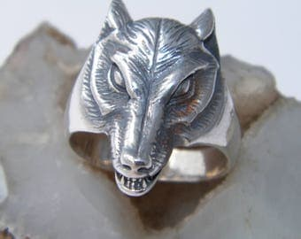 Handcrafted Oxidized.925 Sterling Silver Wolf Ring-Custom Size